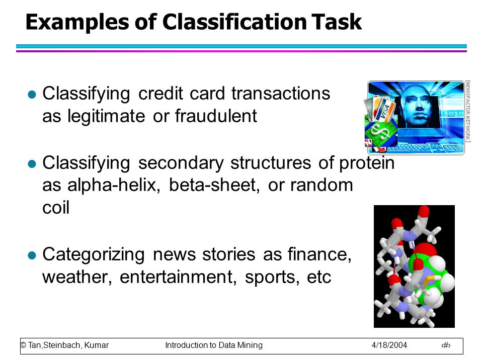 © Tan,Steinbach, Kumar Introduction to Data Mining 4/18/2004 54 Cost Matrix PREDICTED CLASS ACTUAL CLASS C(i|j) Class=YesClass=No Class=YesC(Yes|Yes)C(No|Yes) Class=NoC(Yes|No)C(No|No) C(i|j): Cost of misclassifying class j example as class i