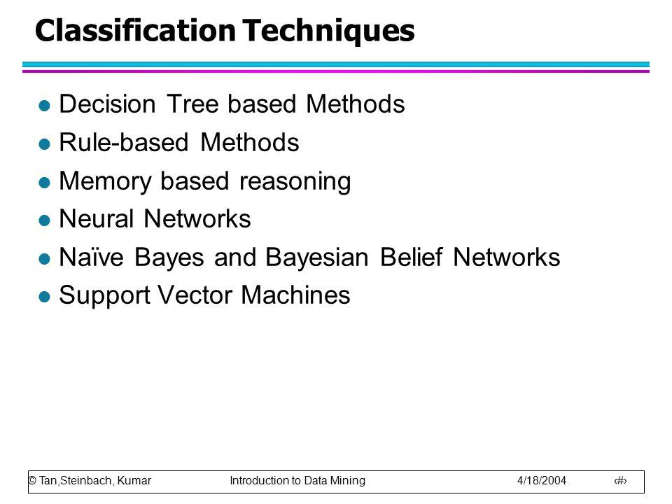 © Tan,Steinbach, Kumar Introduction to Data Mining 4/18/2004 55 Computing Cost of Classification Cost Matrix PREDICTED CLASS ACTUAL CLASS C(i|j) +- +100 -10 Model M 1 PREDICTED CLASS ACTUAL CLASS +- +15040 -60250 Model M 2 PREDICTED CLASS ACTUAL CLASS +- +25045 -5200 Accuracy = 80% Cost = 3910 Accuracy = 90% Cost = 4255