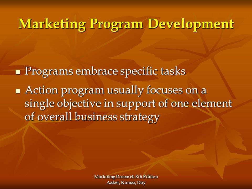Marketing Research 8th Edition Aaker, Kumar, Day Marketing Program Development Programs embrace specific tasks Programs embrace specific tasks Action