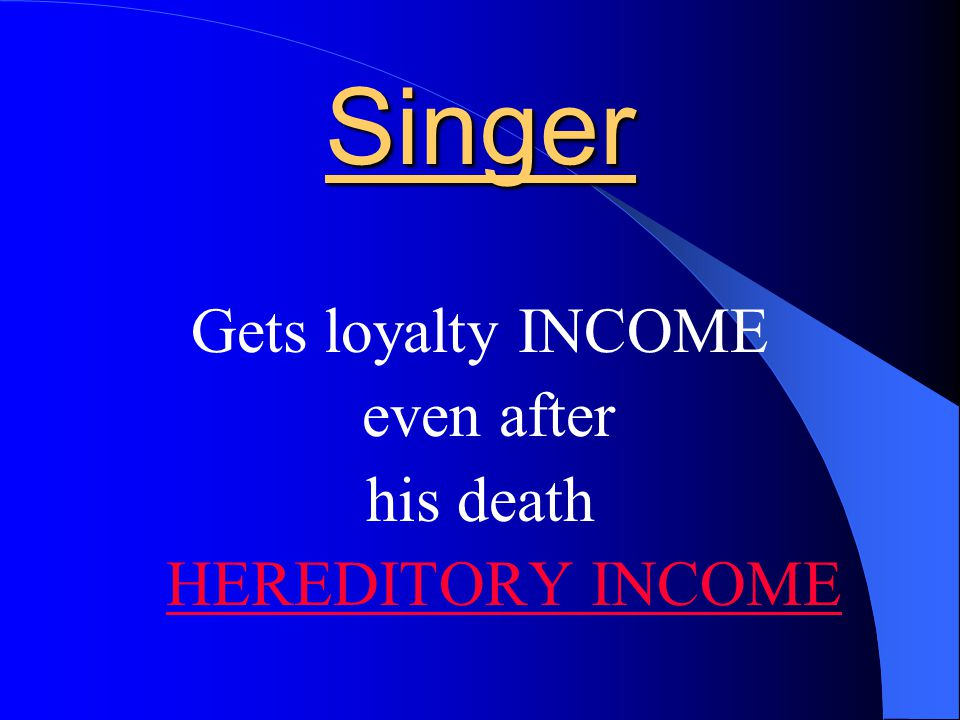 Singer Gets loyalty as long as his songs are sold in the market by way of CASSETTES OR CD RENEWAL INCOME