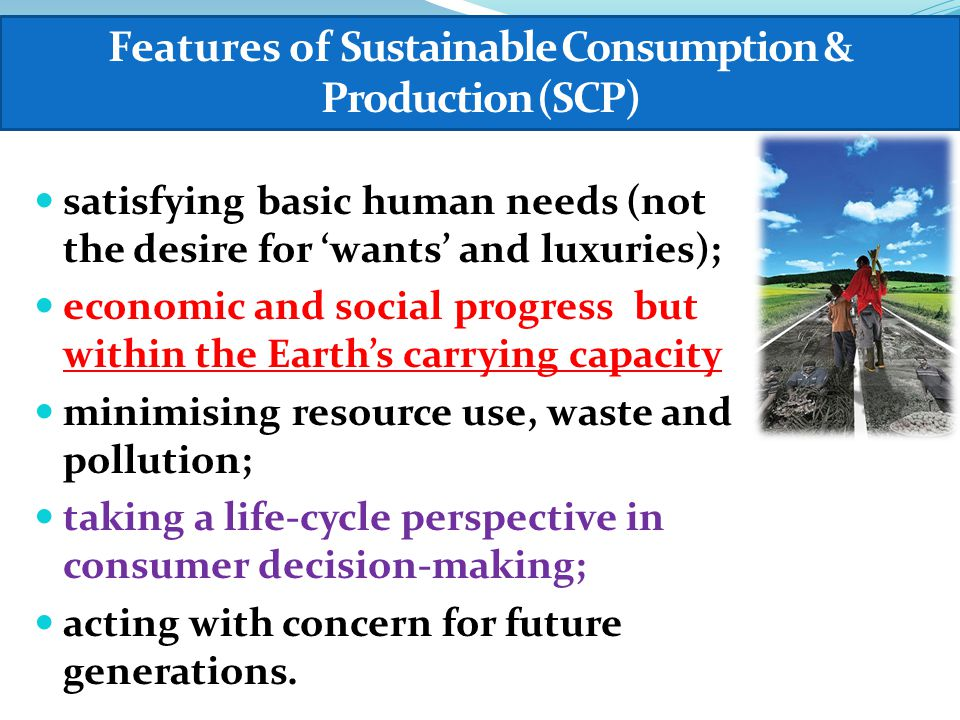 satisfying basic human needs (not the desire for 'wants' and luxuries); economic and social progress but within the Earth's carrying capacity minimising resource use, waste and pollution; taking a life-cycle perspective in consumer decision-making; acting with concern for future generations.