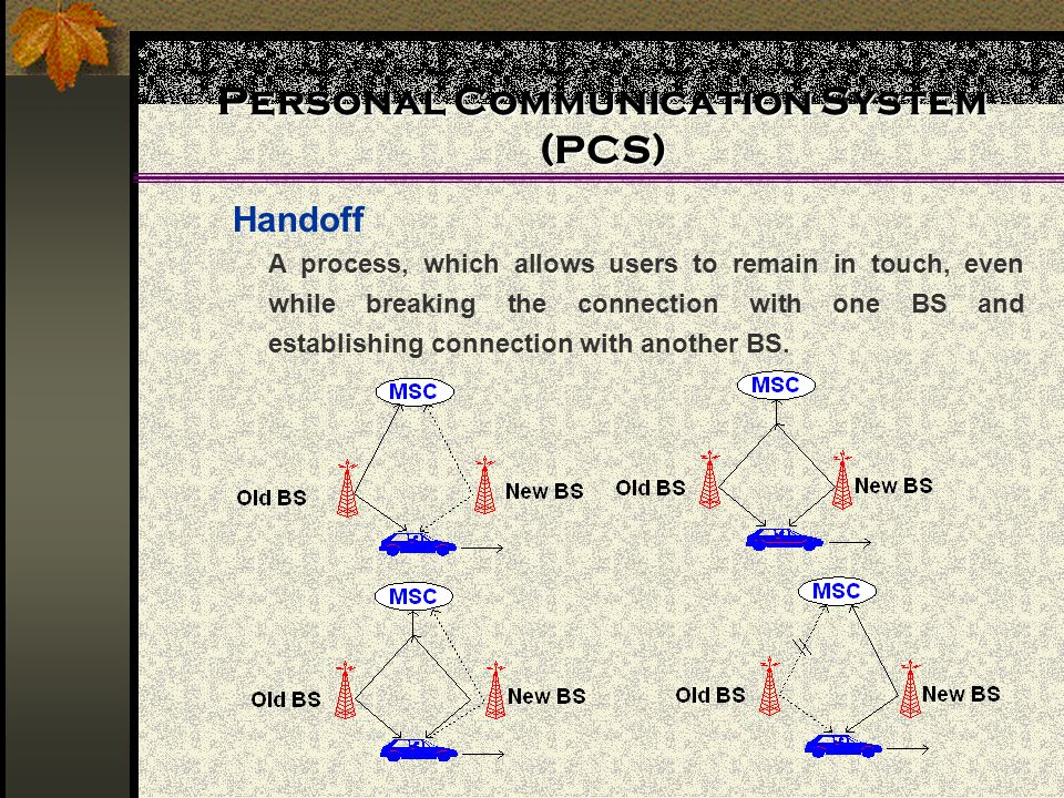 Personal Communication System (PCS) Handoff A process, which allows users to remain in touch, even while breaking the connection with one BS and establishing connection with another BS.