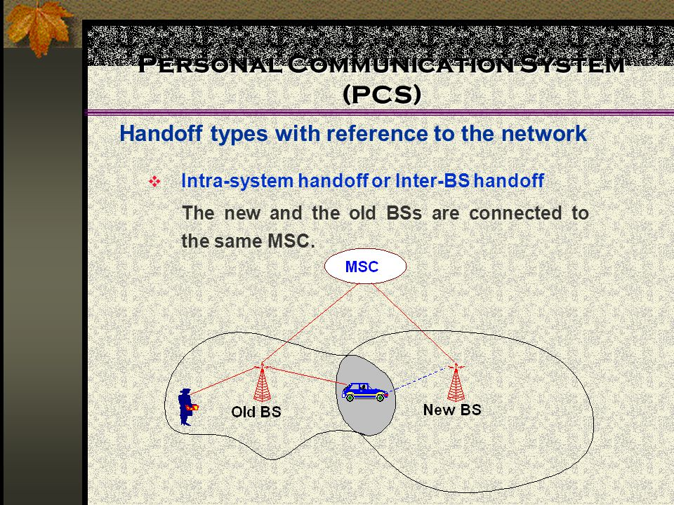 Personal Communication System (PCS) Handoff types with reference to the network  Intra-system handoff or Inter-BS handoff The new and the old BSs are connected to the same MSC.
