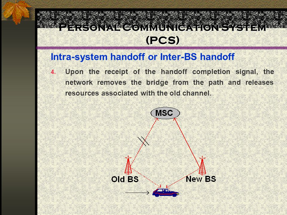 Personal Communication System (PCS) Intra-system handoff or Inter-BS handoff 4.