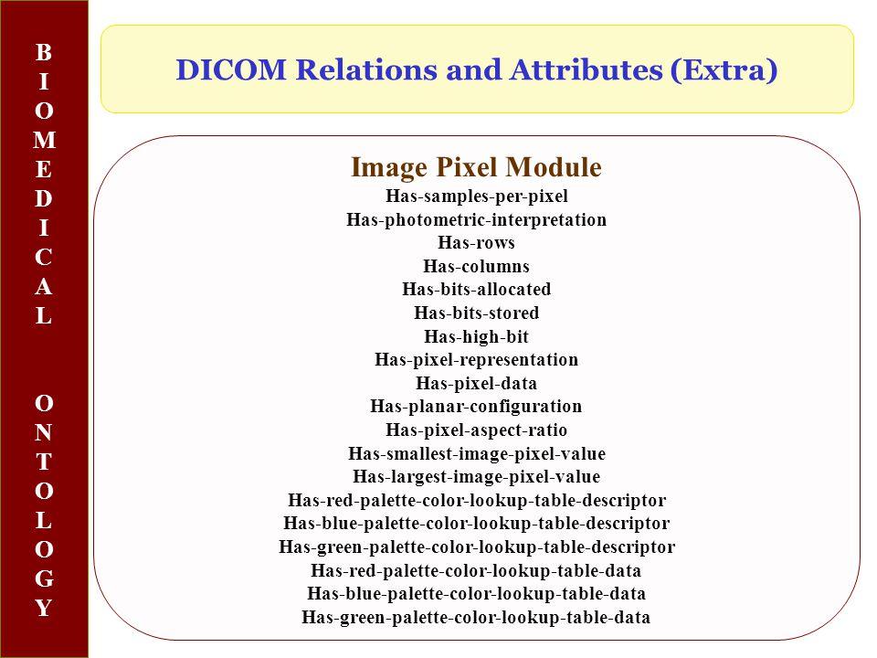BIOMEDICALONTOLOGYBIOMEDICALONTOLOGY Image Pixel Module Has-samples-per-pixel Has-photometric-interpretation Has-rows Has-columns Has-bits-allocated Has-bits-stored Has-high-bit Has-pixel-representation Has-pixel-data Has-planar-configuration Has-pixel-aspect-ratio Has-smallest-image-pixel-value Has-largest-image-pixel-value Has-red-palette-color-lookup-table-descriptor Has-blue-palette-color-lookup-table-descriptor Has-green-palette-color-lookup-table-descriptor Has-red-palette-color-lookup-table-data Has-blue-palette-color-lookup-table-data Has-green-palette-color-lookup-table-data DICOM Relations and Attributes (Extra)