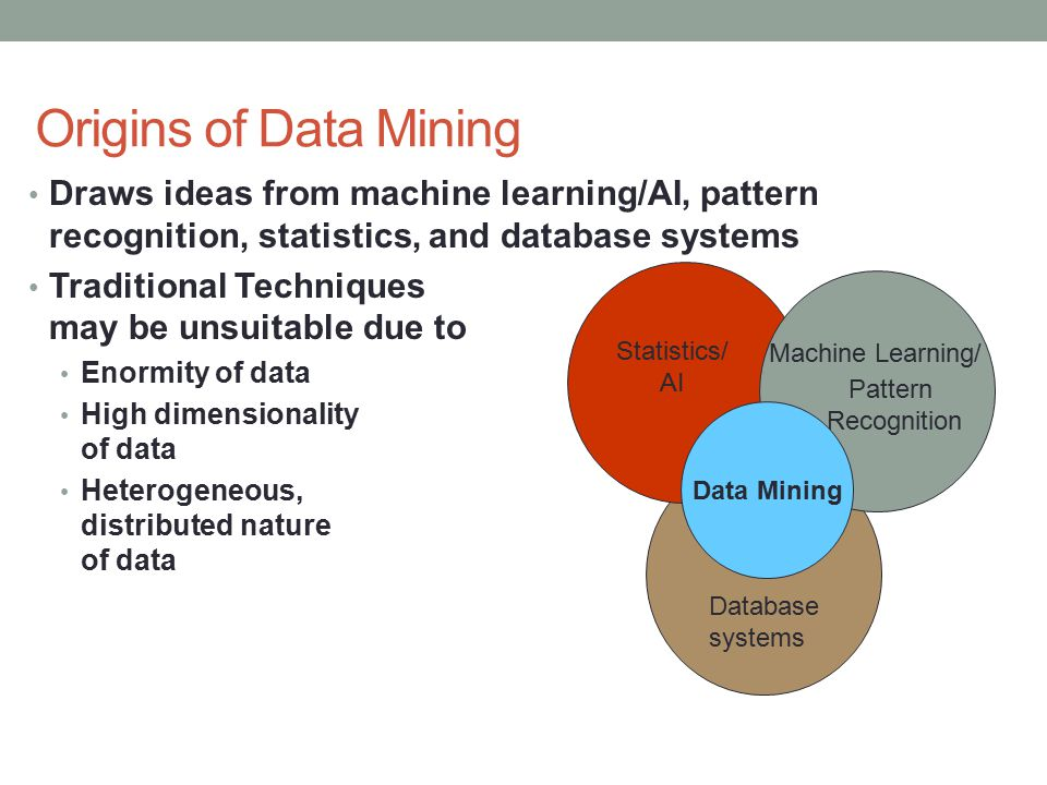 Origins of Data Mining Draws ideas from machine learning/AI, pattern recognition, statistics, and database systems Traditional Techniques may be unsuitable due to Enormity of data High dimensionality of data Heterogeneous, distributed nature of data Machine Learning/ Pattern Recognition Statistics/ AI Data Mining Database systems