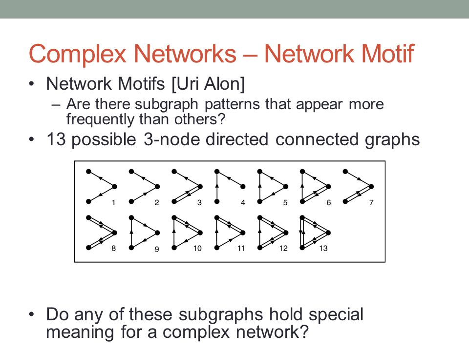 Complex Networks – Network Motif Network Motifs [Uri Alon] –Are there subgraph patterns that appear more frequently than others.