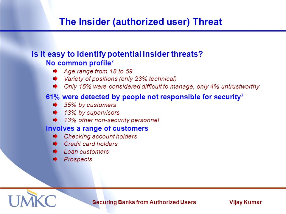 Vijay KumarSecuring Banks from Authorized Users The Insider Attack Tree What is an Attack Tree.