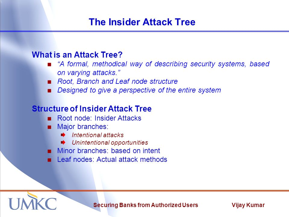 "Vijay KumarSecuring Banks from Authorized Users The Insider Attack Tree What is an Attack Tree? ""A formal, methodical way of describing security syste"