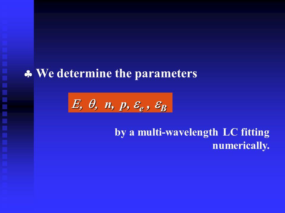  We determine the parameters  n, p,  e,  B   n, p,  e,  B by a multi-wavelength LC fitting numerically.