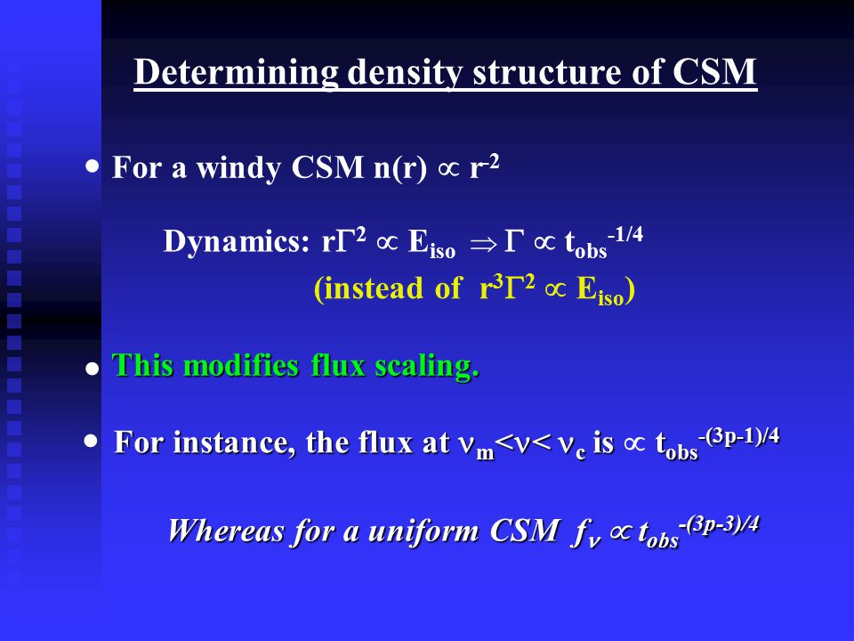 Determining density structure of CSM For a windy CSM n(r)  r -2 Dynamics: r  2  E iso    t obs -1/4 This modifies flux scaling.