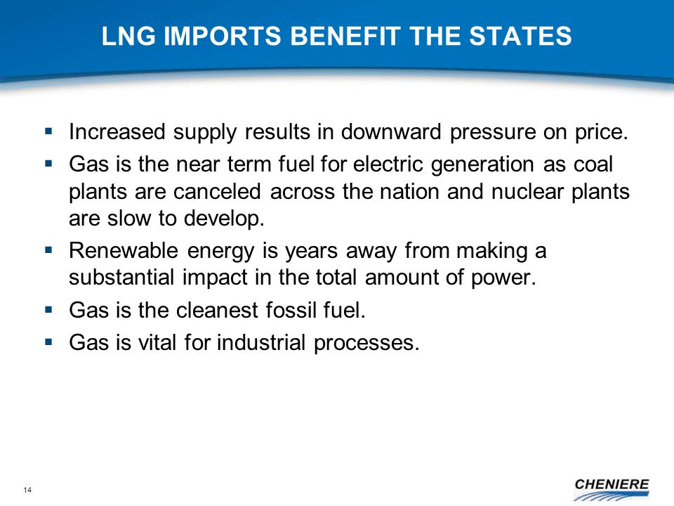 14 LNG IMPORTS BENEFIT THE STATES  Increased supply results in downward pressure on price.