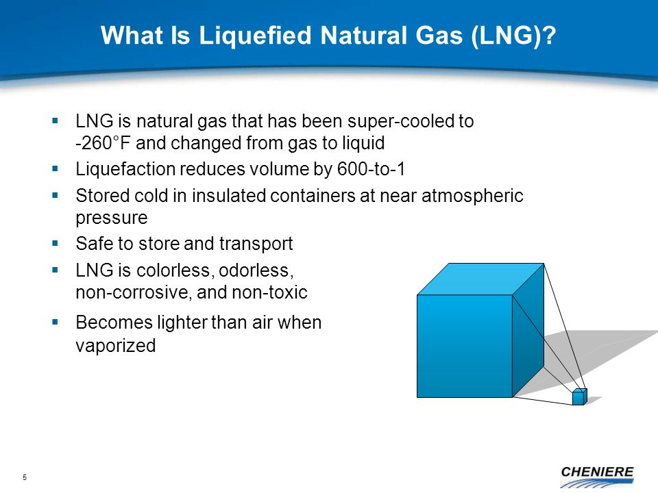 5  LNG is natural gas that has been super-cooled to -260°F and changed from gas to liquid  Liquefaction reduces volume by 600-to-1  Stored cold in insulated containers at near atmospheric pressure  Safe to store and transport  LNG is colorless, odorless, non-corrosive, and non-toxic  Becomes lighter than air when vaporized What Is Liquefied Natural Gas (LNG)
