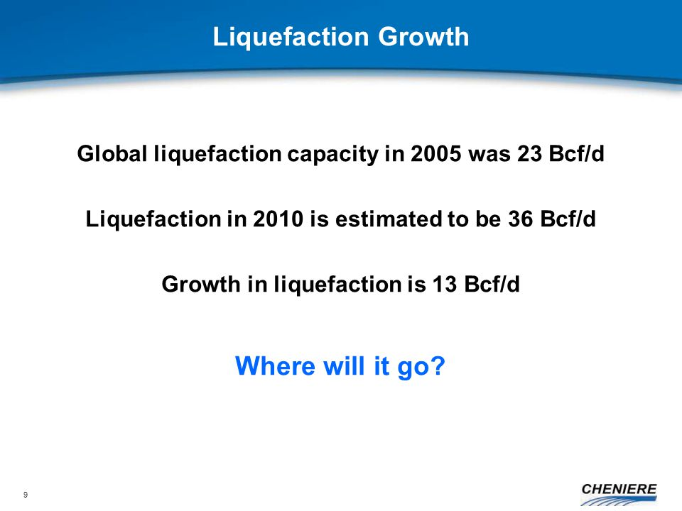 9 Liquefaction Growth Global liquefaction capacity in 2005 was 23 Bcf/d Liquefaction in 2010 is estimated to be 36 Bcf/d Growth in liquefaction is 13 Bcf/d Where will it go
