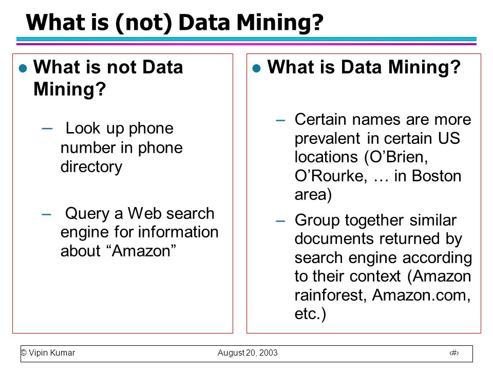 © Vipin Kumar August 20, 2003 3 What is (not) Data Mining.