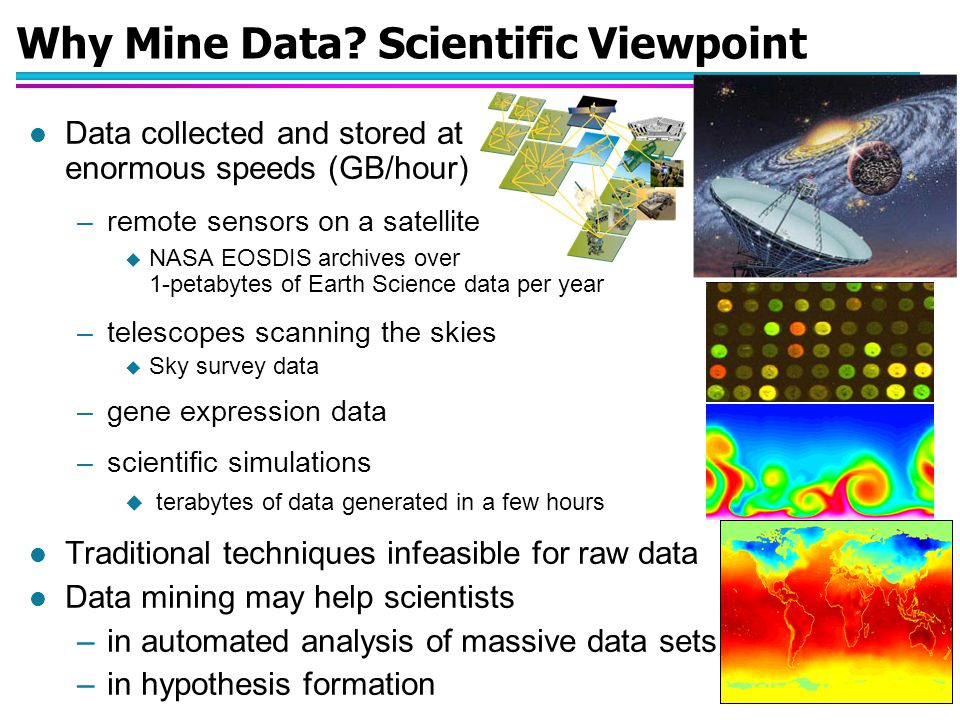 © Vipin Kumar August 20, 2003 26 Release: 03-51AR NASA DATA MINING REVEALS A NEW HISTORY OF NATURAL DISASTERS NASA is using satellite data to paint a detailed global picture of the interplay among natural disasters, human activities and the rise of carbon dioxide in the Earth s atmosphere during the past 20 years.