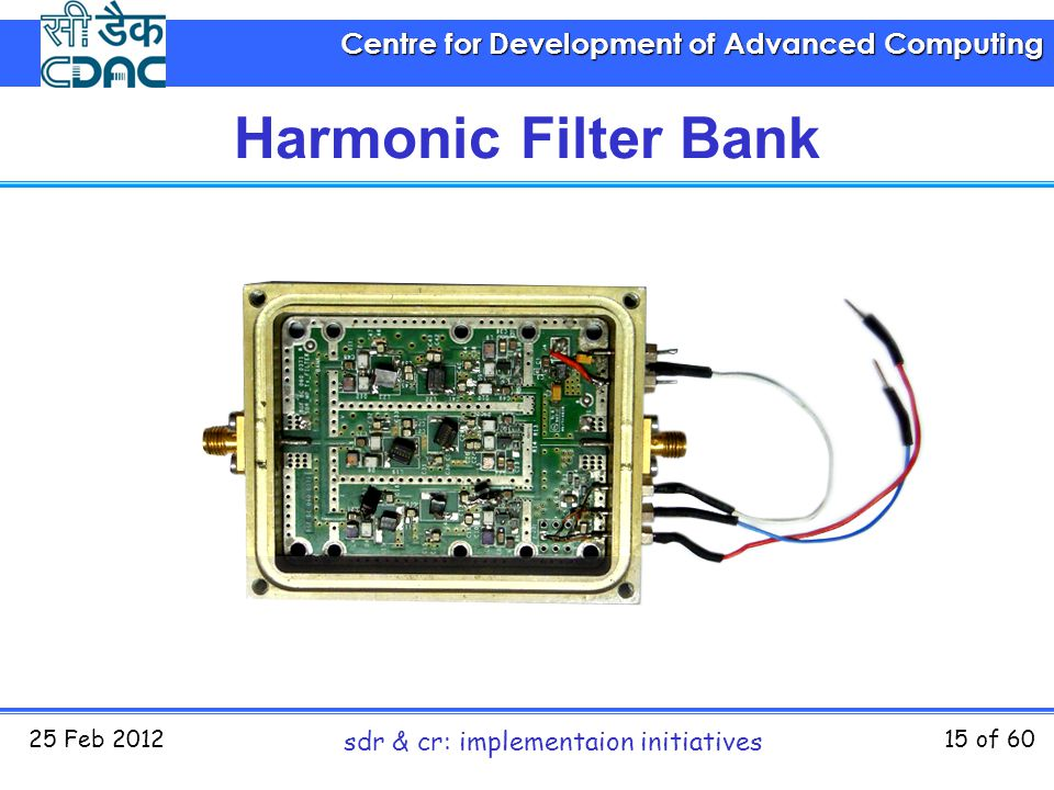 Centre for Development of Advanced Computing 25 Feb 2012 sdr & cr: implementaion initiatives 15 of 60 Harmonic Filter Bank