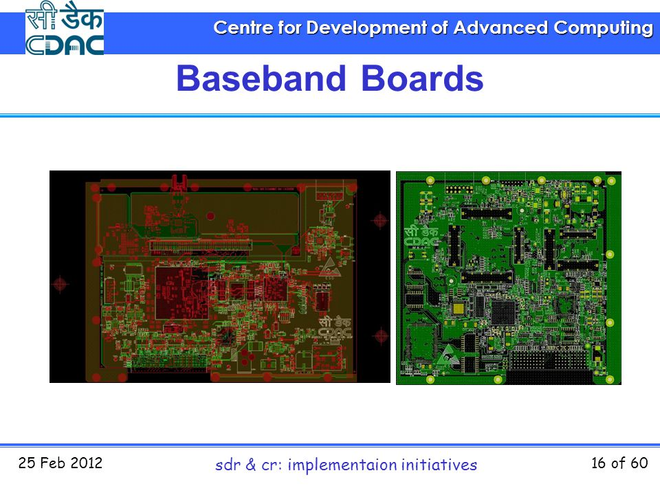 Centre for Development of Advanced Computing 25 Feb 2012 sdr & cr: implementaion initiatives 16 of 60 Baseband Boards