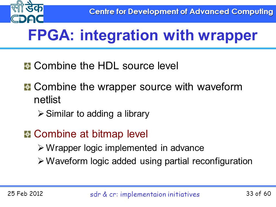 Centre for Development of Advanced Computing 25 Feb 2012 sdr & cr: implementaion initiatives 33 of 60 FPGA: integration with wrapper Combine the HDL s