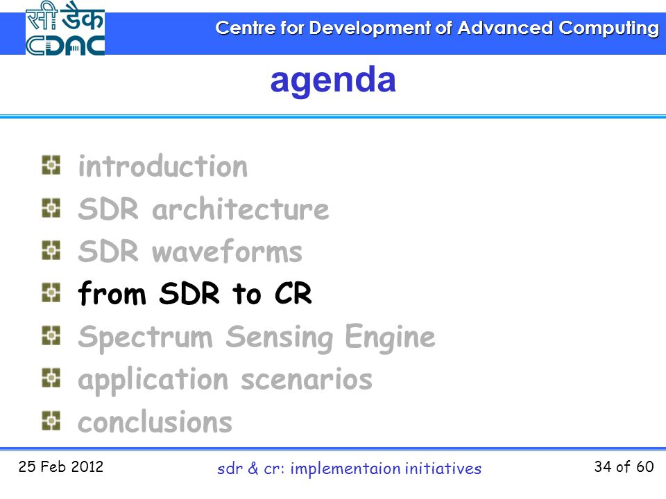 Centre for Development of Advanced Computing 25 Feb 2012 sdr & cr: implementaion initiatives 34 of 60 agenda introduction SDR architecture SDR wavefor