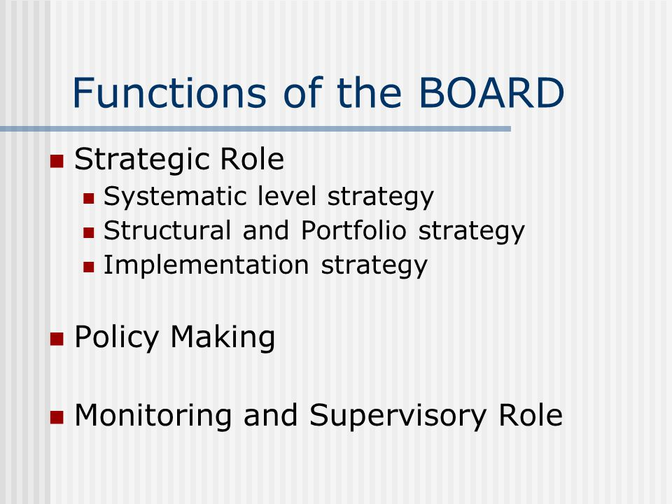 Functions of the BOARD Strategic Role Systematic level strategy Structural and Portfolio strategy Implementation strategy Policy Making Monitoring and Supervisory Role
