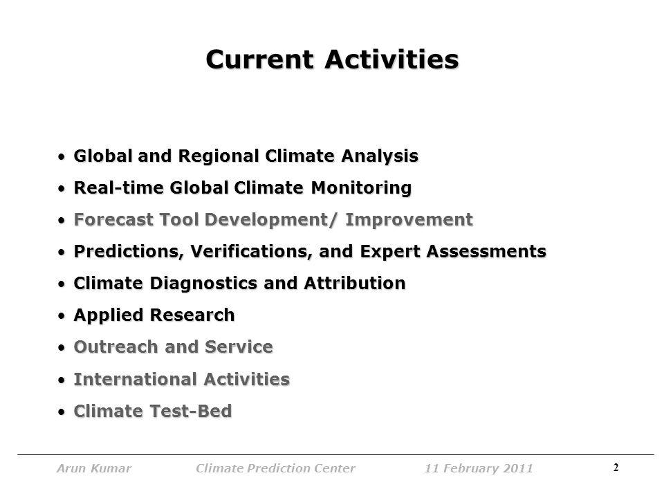 13 Arun Kumar Climate Prediction Center 11 February 2011 Climate Diagnostics and Attribution