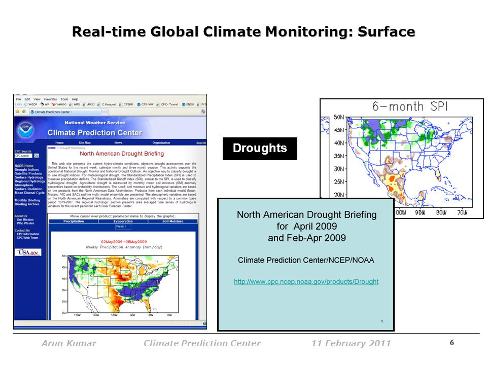 6 Arun Kumar Climate Prediction Center 11 February 2011 Real-time Global Climate Monitoring: Surface Droughts