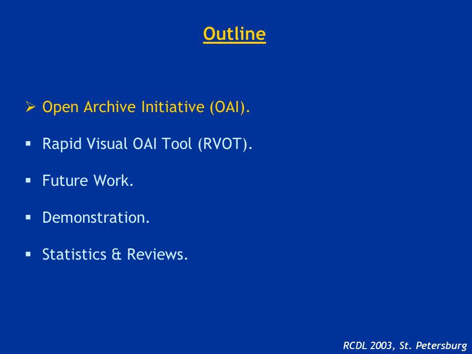 Outline  Open Archive Initiative (OAI).  Rapid Visual OAI Tool (RVOT).