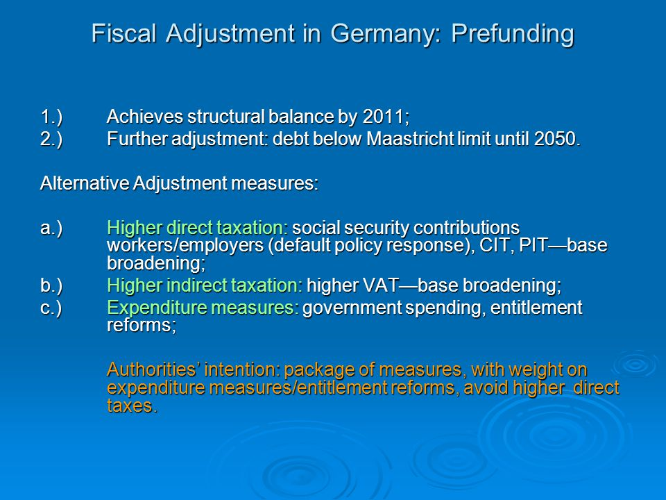 Fiscal Adjustment in Germany: Prefunding 1.)Achieves structural balance by 2011; 2.)Further adjustment: debt below Maastricht limit until 2050.