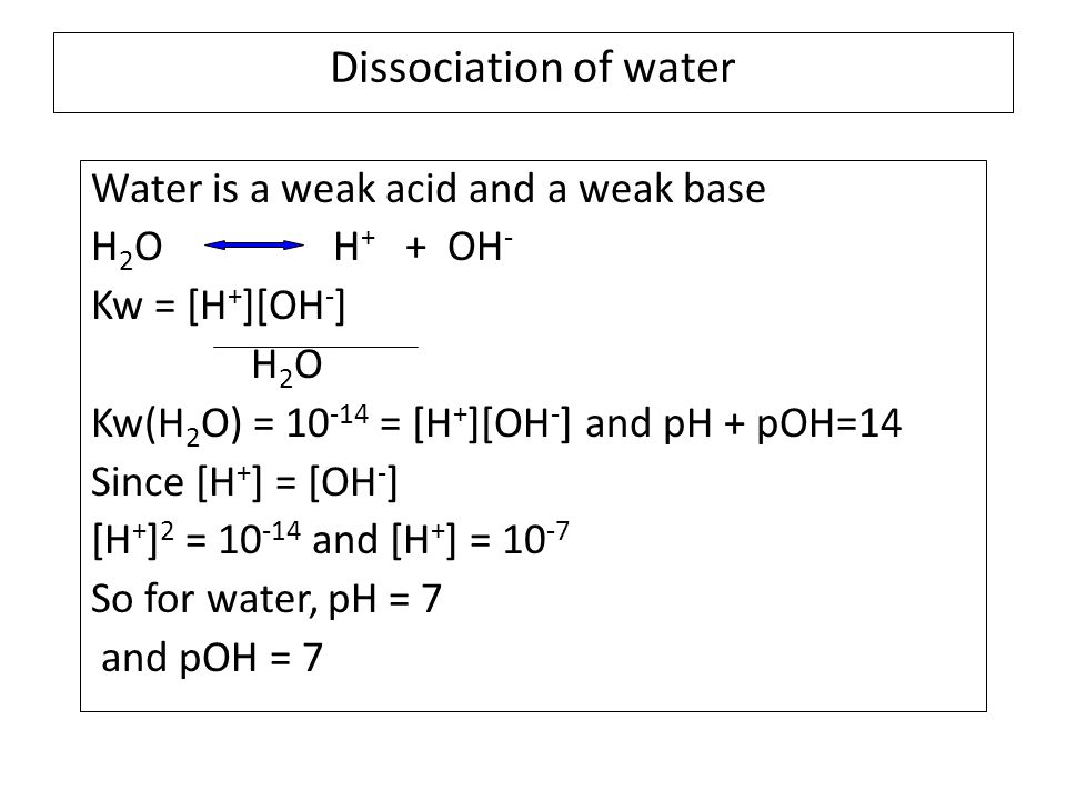 Dissociation of water Water is a weak acid and a weak base H 2 O H + + OH - Kw = [H + ][OH - ] H 2 O Kw(H 2 O) = 10 -14 = [H + ][OH - ] and pH + pOH=14 Since [H + ] = [OH - ] [H + ] 2 = 10 -14 and [H + ] = 10 -7 So for water, pH = 7 and pOH = 7