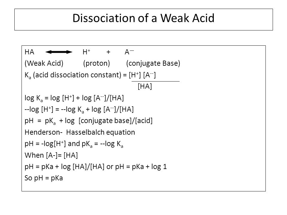Dissociation of a Weak Acid HA H + + A — (Weak Acid) (proton) (conjugate Base) K a (acid dissociation constant) = [H + ] [A -- ] [HA] log K a = log [H + ] + log [A -- ]/[HA] --log [H + ] = --log K a + log [A -- ]/[HA] pH = pK a + log [conjugate base]/[acid] Henderson- Hasselbalch equation pH = -log[H + ] and pK a = --log K a When [A-]= [HA] pH = pKa + log [HA]/[HA] or pH = pKa + log 1 So pH = pKa