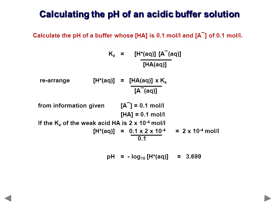 Calculating the pH of an acidic buffer solution Calculate the pH of a buffer whose [HA] is 0.1 mol/l and [A¯] of 0.1 mol/l.