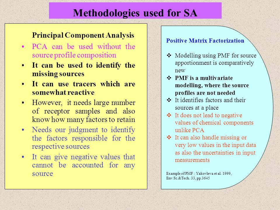 Methodologies used for SA Principal Component Analysis PCA can be used without the source profile composition It can be used to identify the missing sources It can use tracers which are somewhat reactive However, it needs large number of receptor samples and also know how many factors to retain Needs our judgment to identify the factors responsible for the respective sources It can give negative values that cannot be accounted for any source Positive Matrix Factorization  Modelling using PMF for source apportionment is comparatively new  PMF is a multivariate modelling, where the source profiles are not needed  It identifies factors and their sources at a place  It does not lead to negative values of chemical components unlike PCA  It can also handle missing or very low values in the input data as also the uncertainties in input measurements Example of PMF : Yakovleva et al.