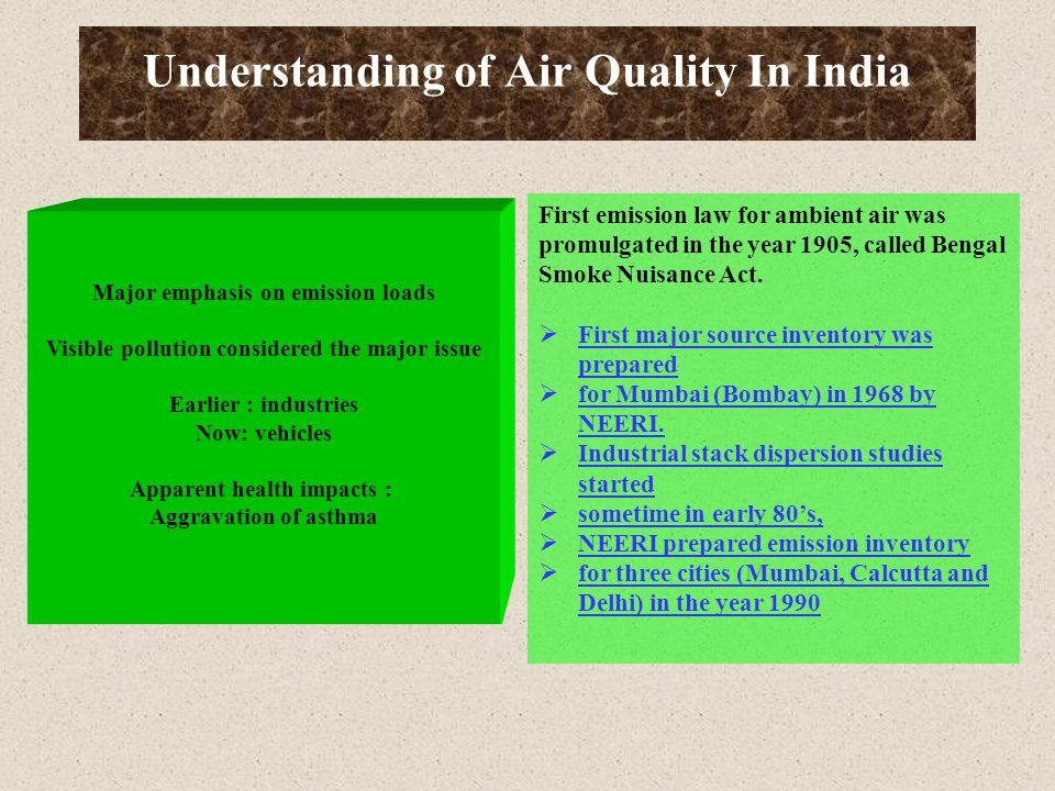 Understanding of Air Quality In India Major emphasis on emission loads Visible pollution considered the major issue Earlier : industries Now: vehicles Apparent health impacts : Aggravation of asthma First emission law for ambient air was promulgated in the year 1905, called Bengal Smoke Nuisance Act.