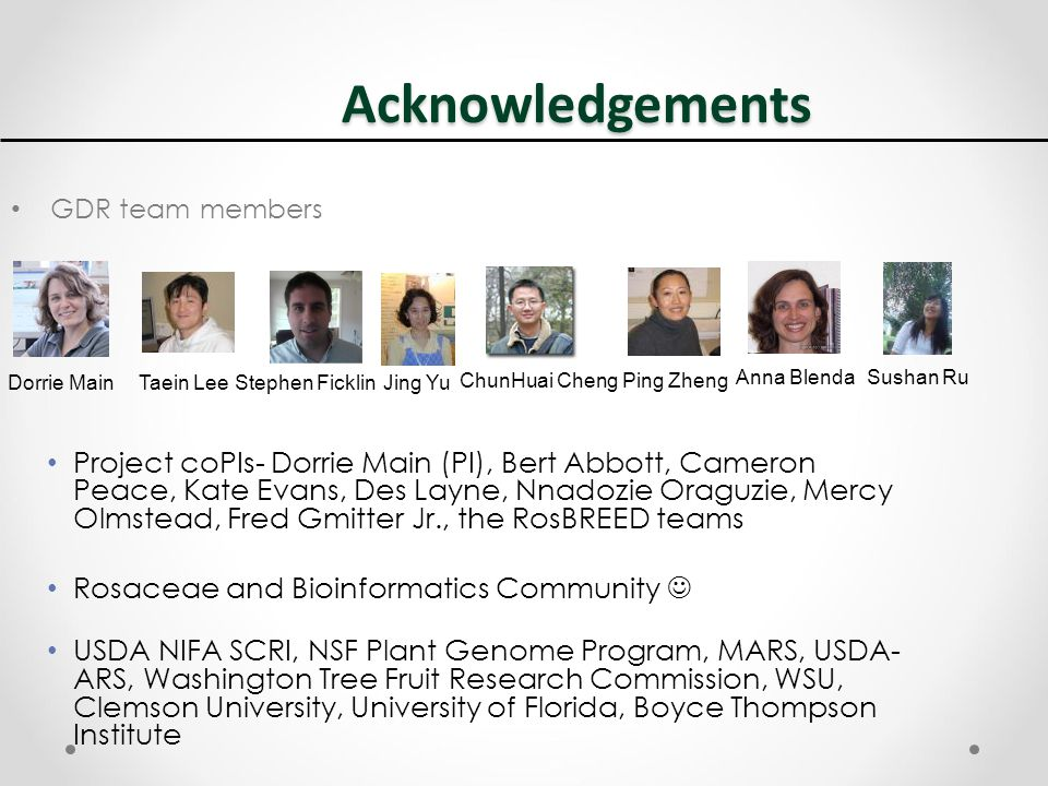 Acknowledgements GDR team members Taein Lee Stephen Ficklin ChunHuai Cheng Ping Zheng Anna Blenda Sushan Ru Dorrie Main Jing Yu Project coPIs- Dorrie