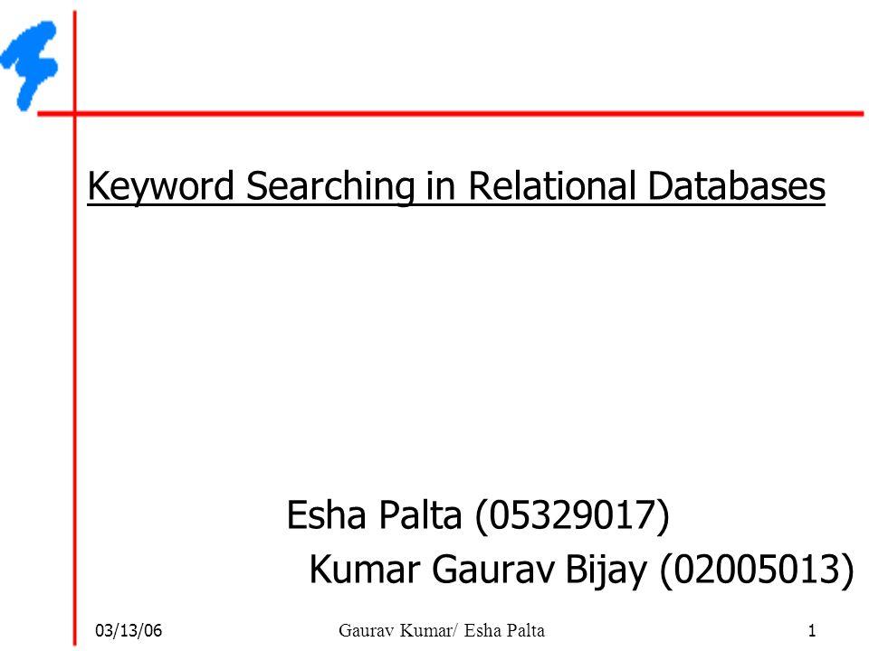 03/13/06 22 Gaurav Kumar/ Esha Palta BANKS Query Result Example  Result of Sudarshan Roy