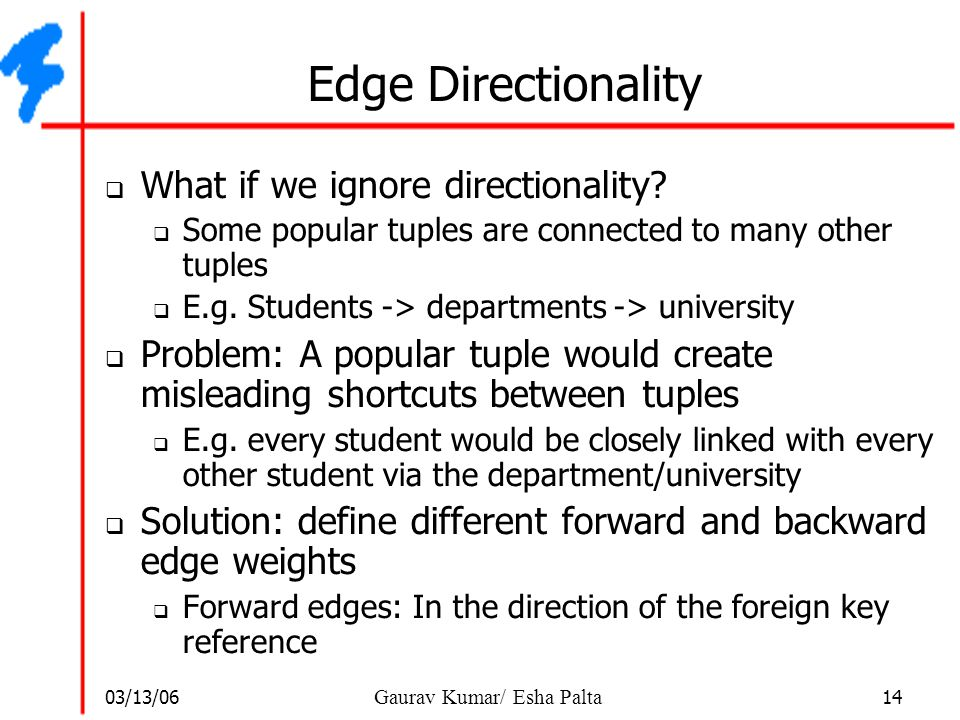03/13/06 14 Gaurav Kumar/ Esha Palta Edge Directionality  What if we ignore directionality?  Some popular tuples are connected to many other tuples