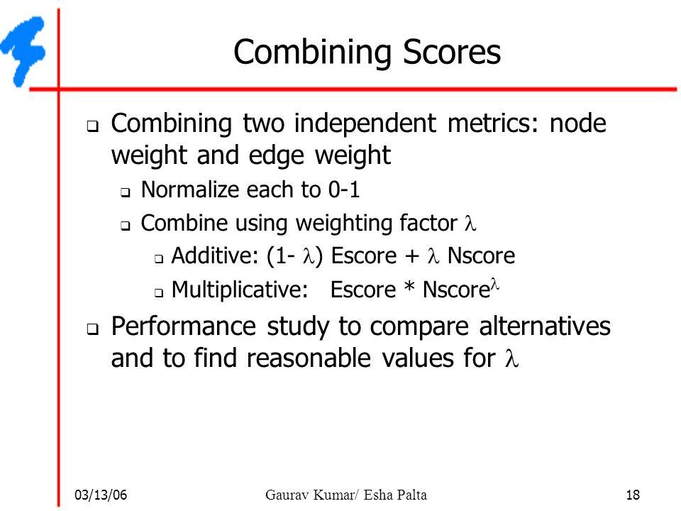 03/13/06 18 Gaurav Kumar/ Esha Palta Combining Scores  Combining two independent metrics: node weight and edge weight  Normalize each to 0-1  Combi