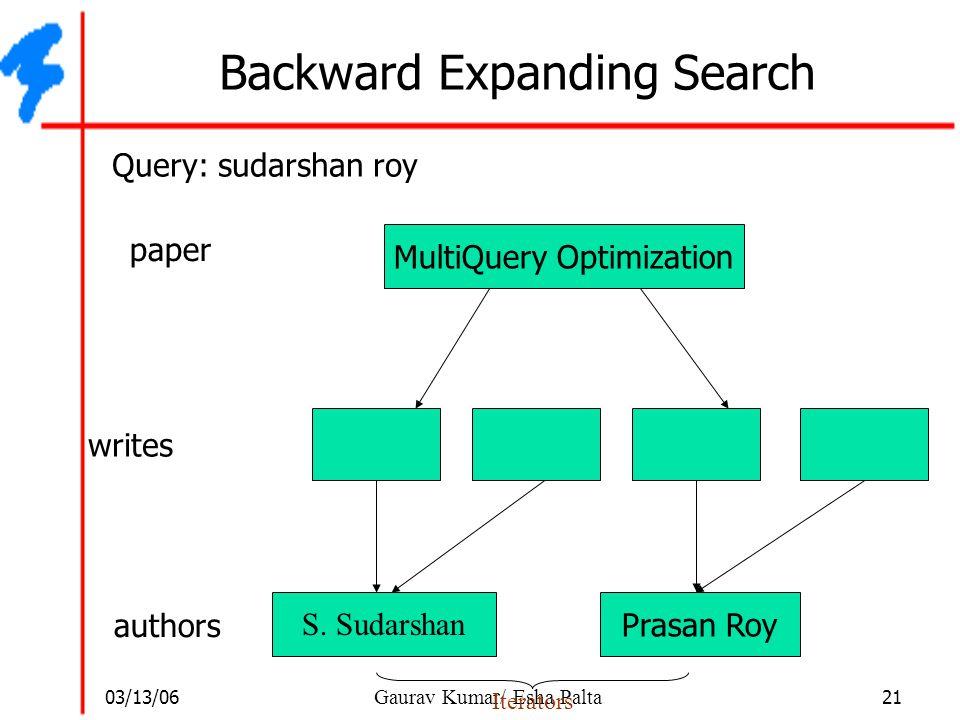 03/13/06 21 Gaurav Kumar/ Esha Palta Backward Expanding Search S. Sudarshan Prasan Roy authors MultiQuery Optimization paper Query: sudarshan roy writ