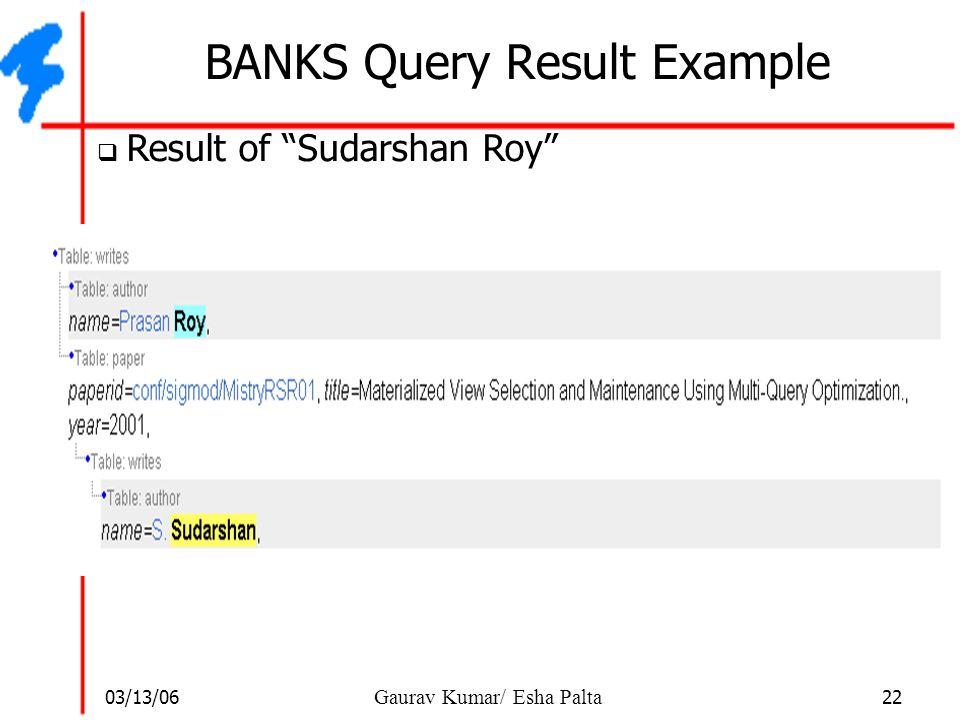 """03/13/06 22 Gaurav Kumar/ Esha Palta BANKS Query Result Example  Result of """"Sudarshan Roy"""""""