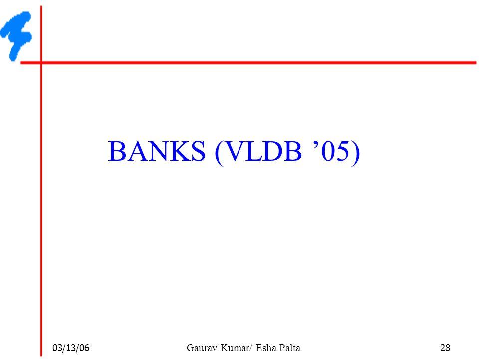 03/13/06 28 Gaurav Kumar/ Esha Palta BANKS (VLDB '05)