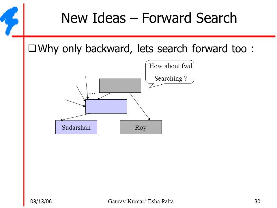 03/13/06 30 Gaurav Kumar/ Esha Palta New Ideas – Forward Search  Why only backward, lets search forward too : SudarshanRoy … How about fwd Searching