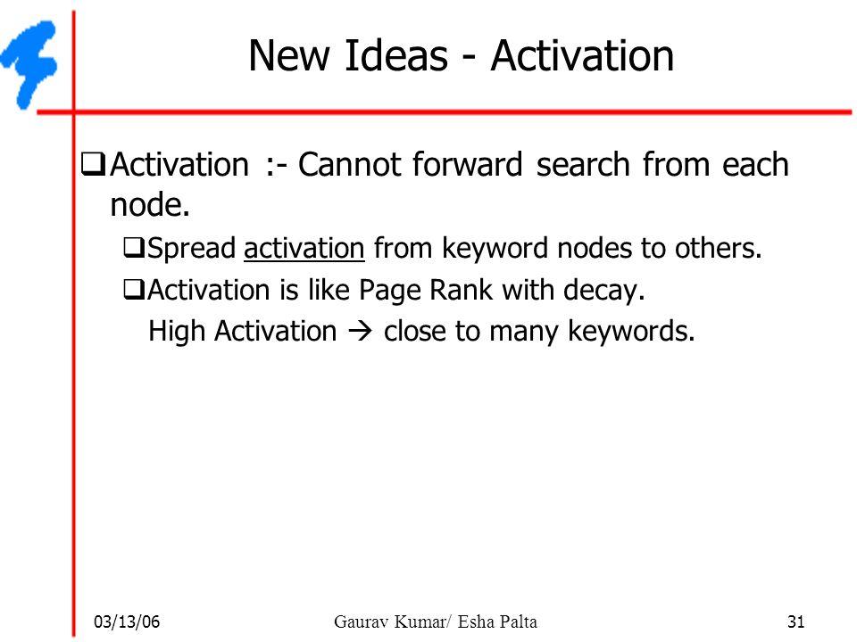 03/13/06 31 Gaurav Kumar/ Esha Palta New Ideas - Activation  Activation :- Cannot forward search from each node.  Spread activation from keyword nod