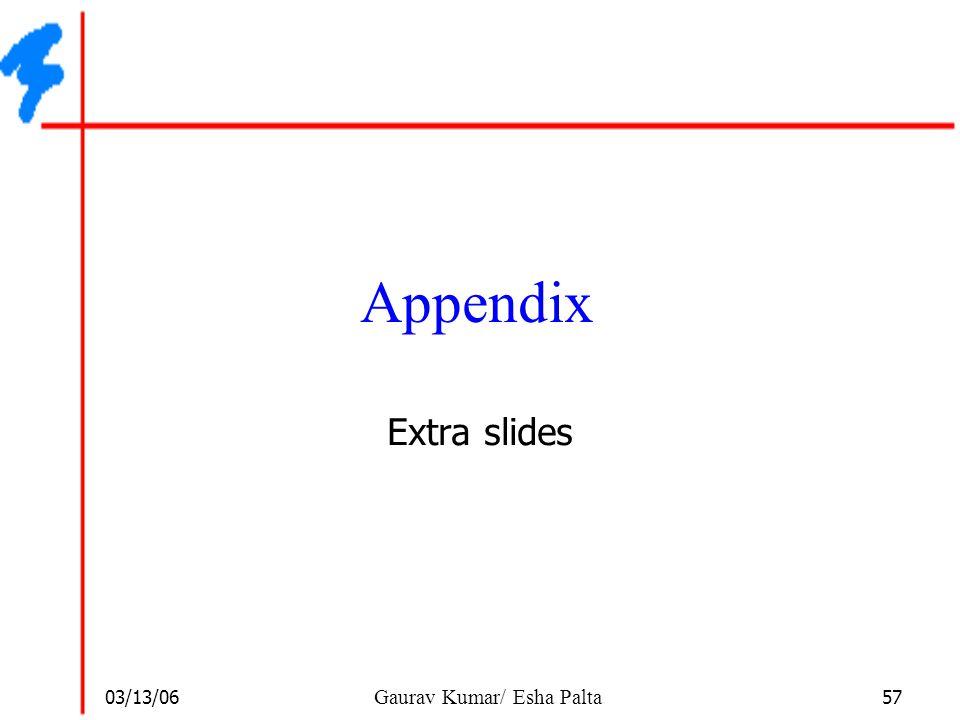 03/13/06 57 Gaurav Kumar/ Esha Palta Appendix Extra slides