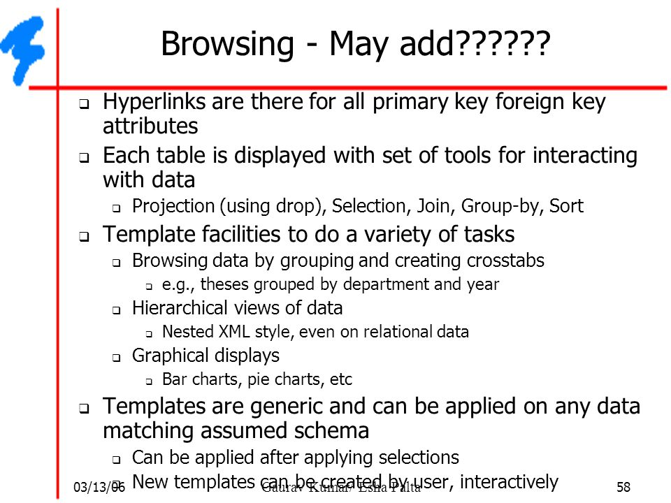 03/13/06 58 Gaurav Kumar/ Esha Palta Browsing - May add??????  Hyperlinks are there for all primary key foreign key attributes  Each table is displa