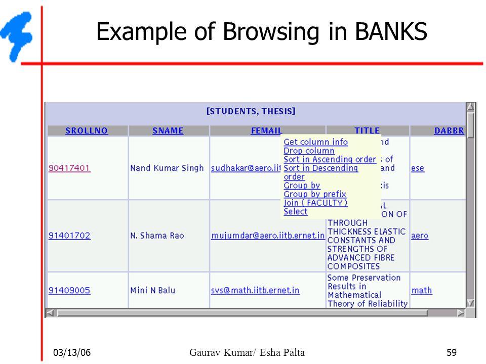 03/13/06 59 Gaurav Kumar/ Esha Palta Example of Browsing in BANKS