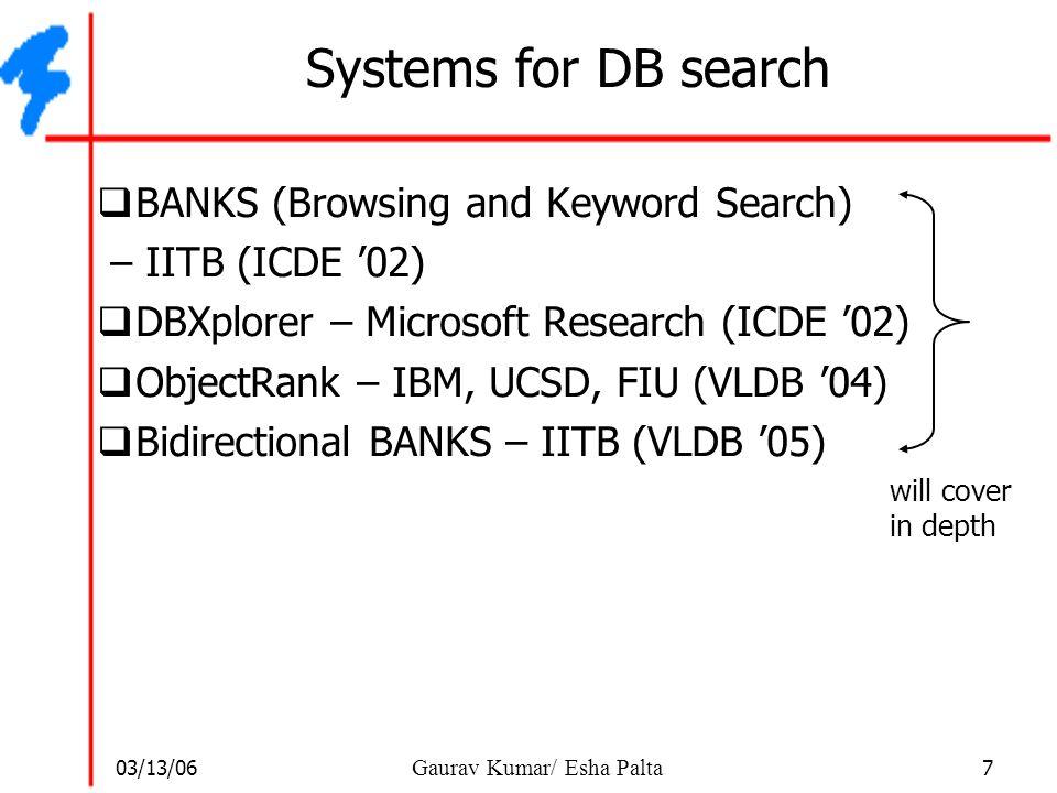 03/13/06 7 Gaurav Kumar/ Esha Palta Systems for DB search  BANKS (Browsing and Keyword Search) – IITB (ICDE '02)  DBXplorer – Microsoft Research (IC
