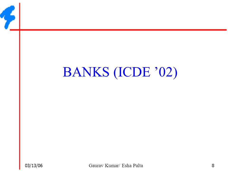 03/13/06 9 Gaurav Kumar/ Esha Palta The BANKS system  BANKS Architecture  Available on the web  http://www.cse.iitb.ac.in/banks  Connects to database using JDBC  JDBC metadata features used to provide schema browsing  Preprocesses db User BANKS HTTP JDBC Database Web-server