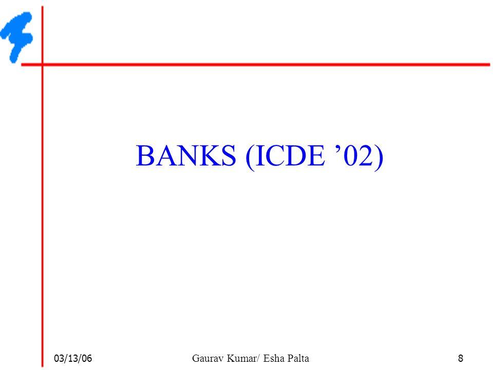 03/13/06 19 Gaurav Kumar/ Esha Palta First Step – Symbol Table  The first step is to build a symbol table  This table is in the db and is not normalized  Example: KeywordList of Matching Nodes Database{N ICDE_2, N VLDB_3, …} Search{N BANKS1, N BANKS2, N DBXPLR,…} Rank{N OBJRNK, N XRANK, N SPHSRCH, …} …