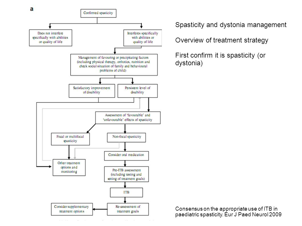 Spasticity and dystonia management Overview of treatment strategy First confirm it is spasticity (or dystonia) Consensus on the appropriate use of ITB